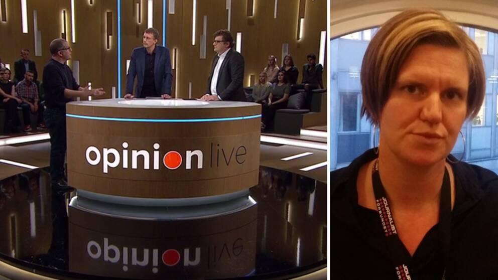 Opinion Live, torsdag 24 november 2016. Från vänster Johan Ingerö, Timbro, Olle Palmlöf, programledare och Jan Helin, programdirektör SVT. Till höger Hanna Nyberg, ordförande Journalistklubben SVT.