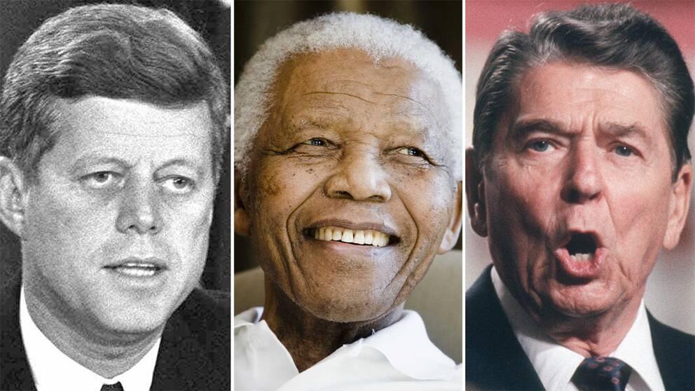 John F Kennedy, Nelson Mandela och Ronald Reagan.
