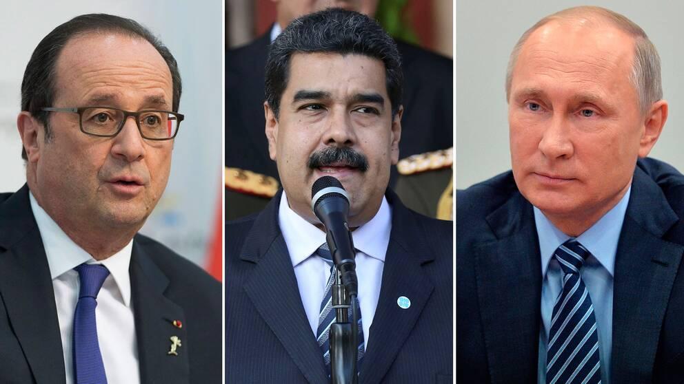 Frankrikes president François Hollande, Venezuelas president Nicolas Maduro och Rysslands president Vladimir Putin.