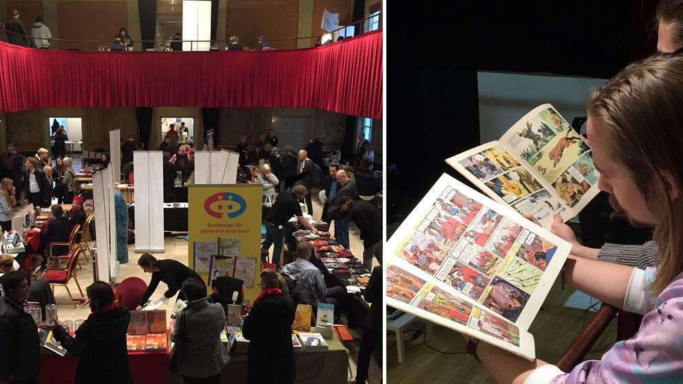 Ett montage av en översiktsbild från seriefestivalen och två kilalr som läser ur serietidningar.
