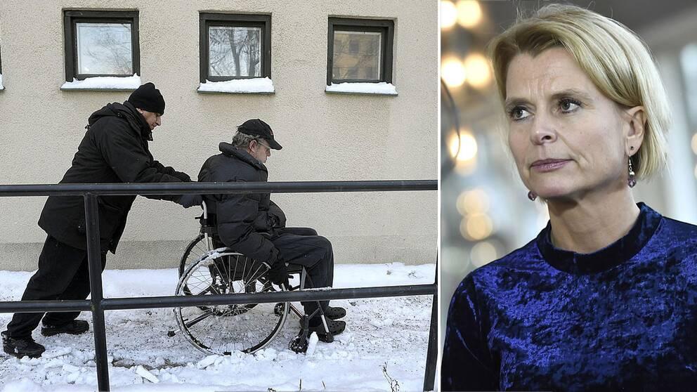 En färdtjänstchaufför hjälper en man i rullstol och Åsa Regnér