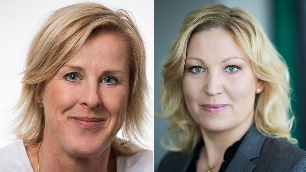 Åsa Fahlén, förbundsordförande i Lärarnas Riksförbund, och Johanna Jaara Åstrand, förbundsordförande i Lärarförbundet.