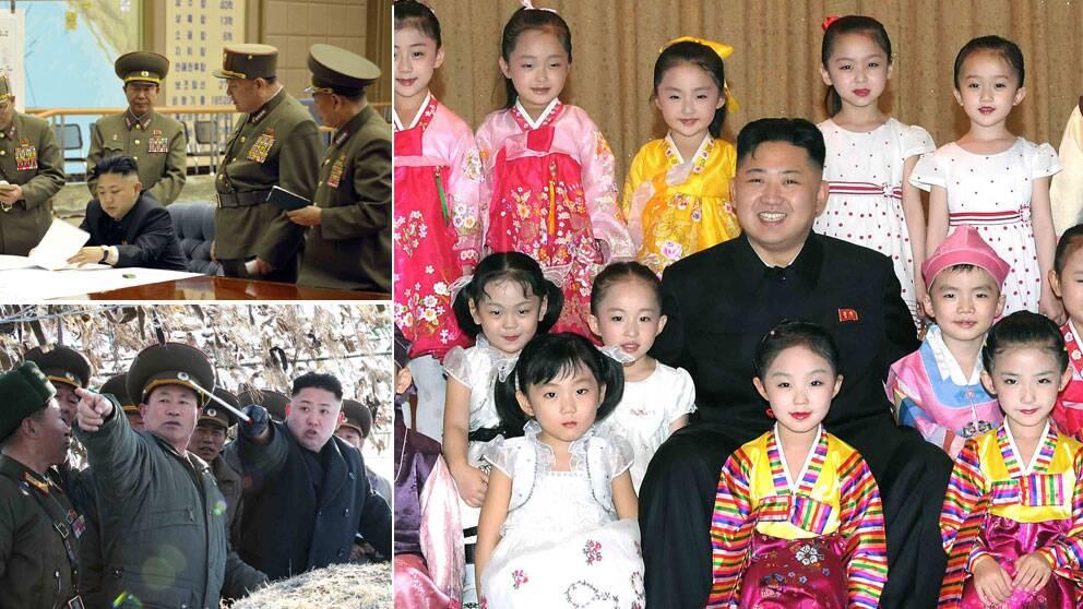 Bilder från Kim Jong-Uns besök på militära anläggningar varvas med bilder där ledaren poserar omgiven av barn.