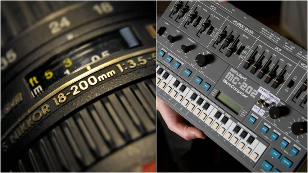 kameraobjektiv och synthesizer