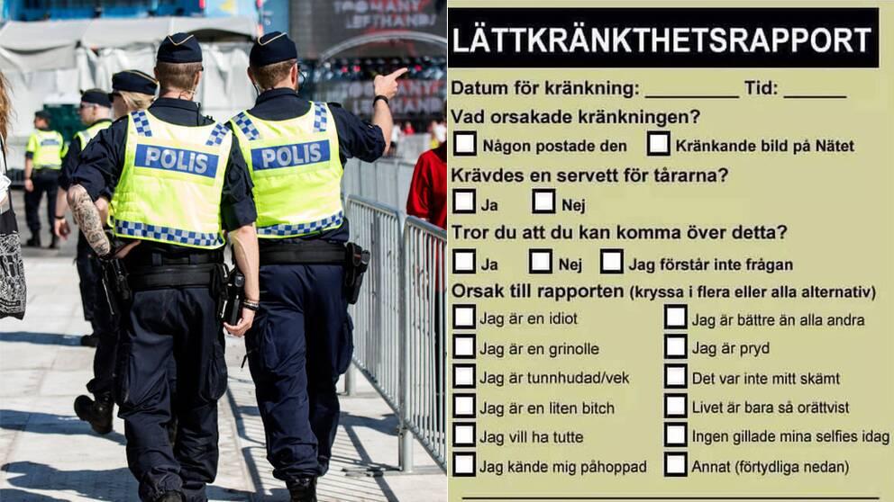 """Twitterkontot YB-Södermalm la under onsdagen ut en bild på en """"Lättkränkthetsrapport"""" på Twitter (bilden till höger). Poliserna på bilden har ingenting med texten att göra."""