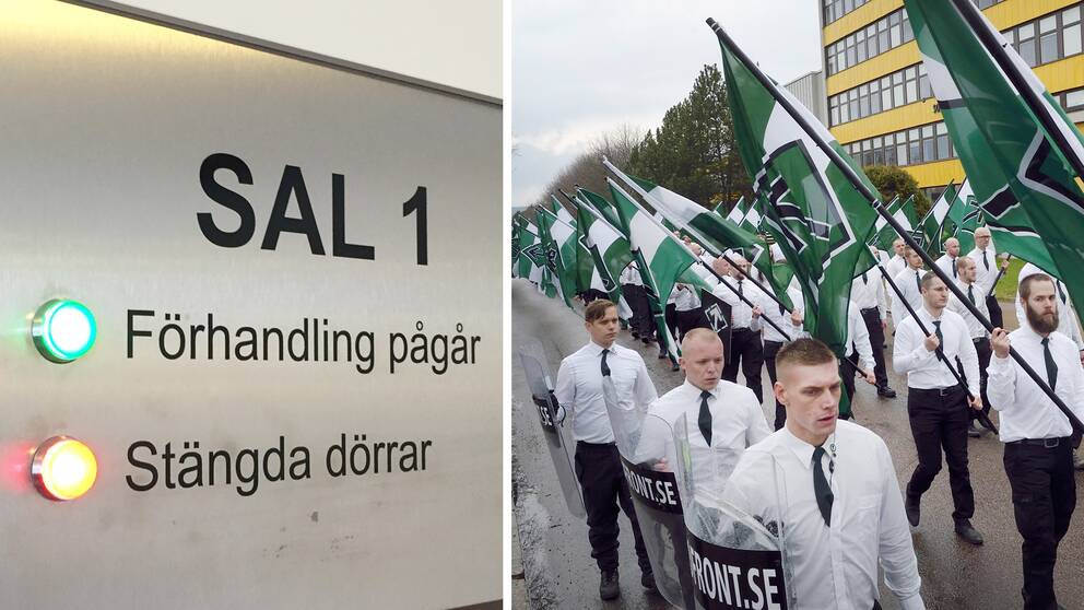 Nordfront i manifestationståg samt bild från en rättssal
