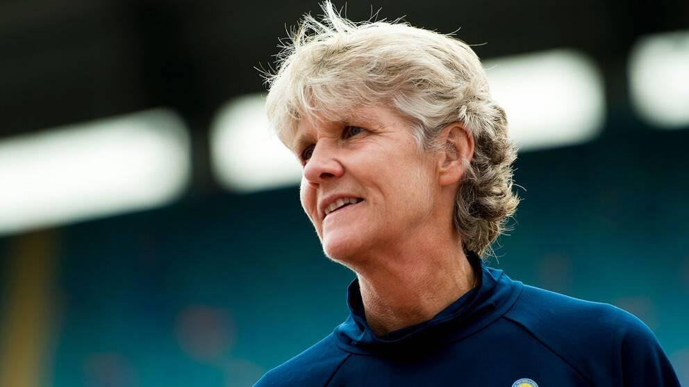 Sveriges förbundskapten Pia Sundhage under en träning med det svenska landslaget i september.