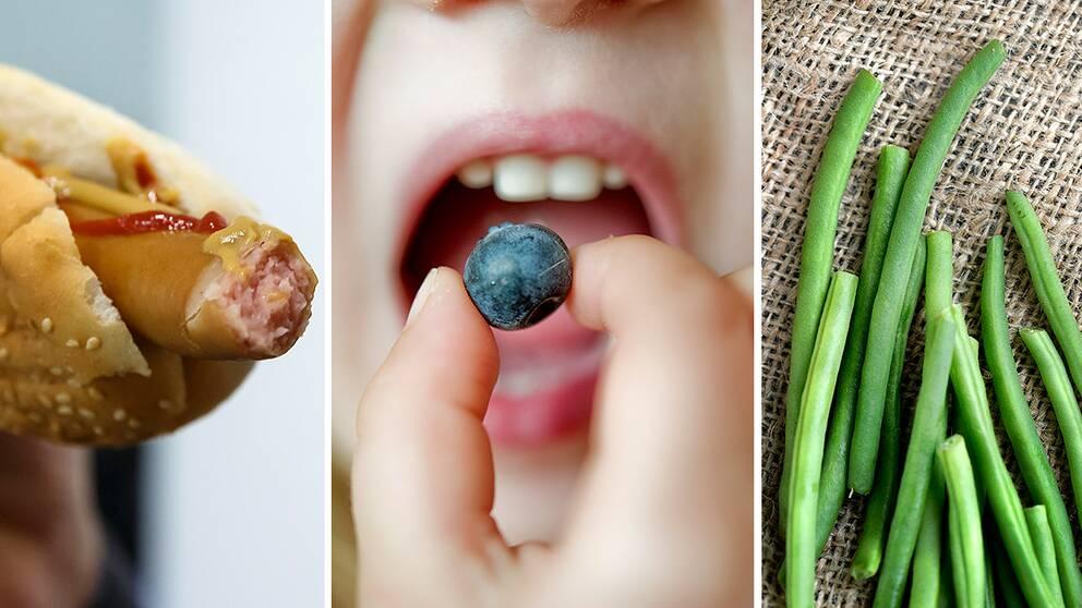 Korv, blåbär och bönor.