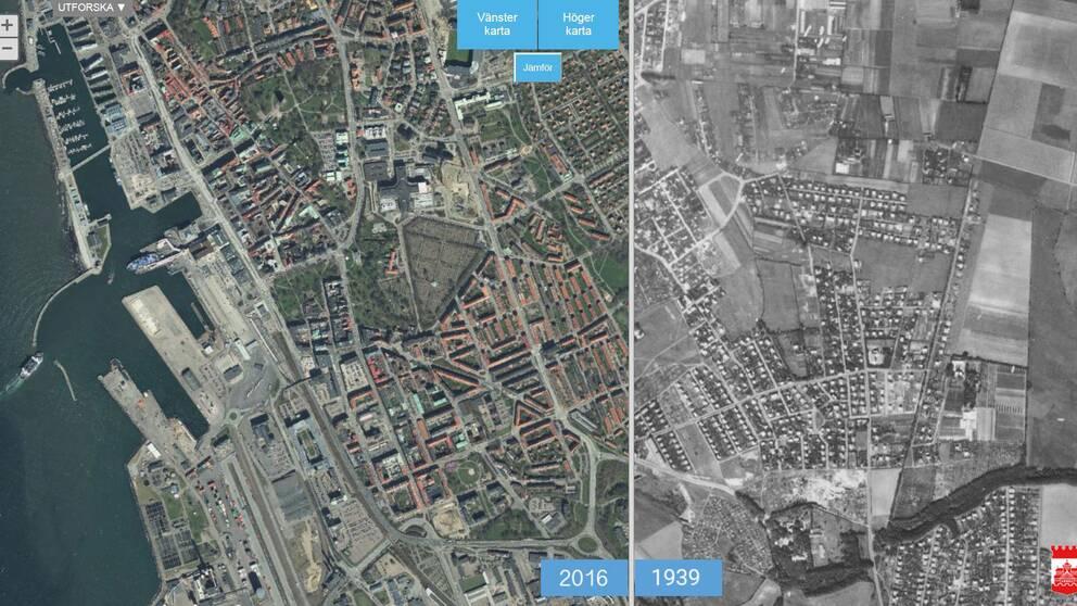 Flygbild över centrala Helsingborg från 2016 och 1939.