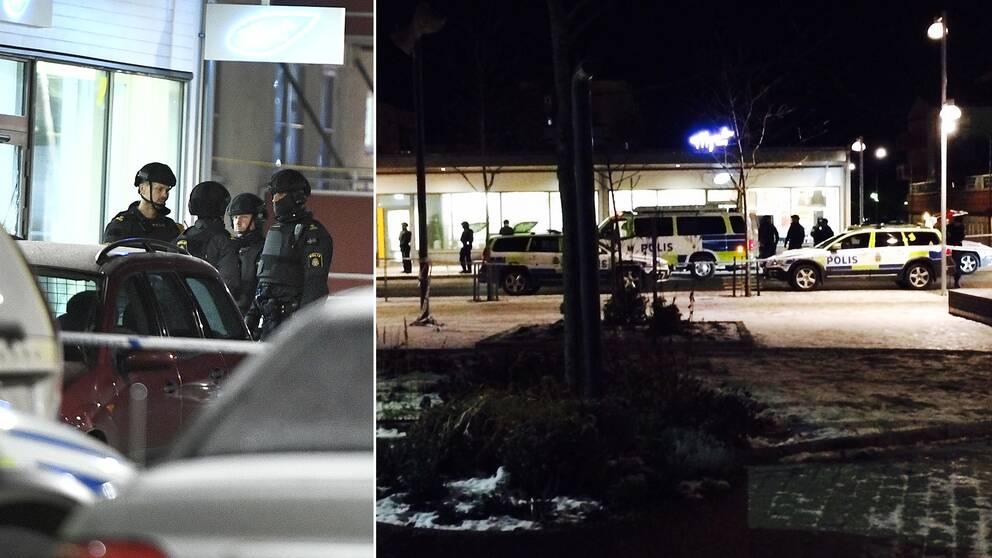 Stor polisinsats i Rinkeby efter dödsskjutningen av två bröder på fredagskvällen.