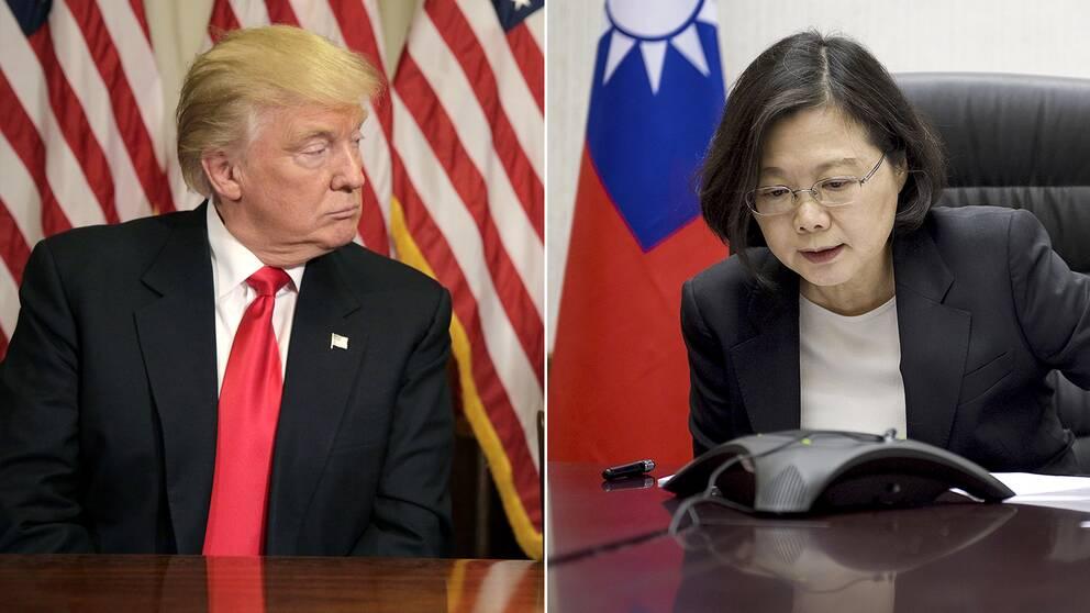 Taiwans president Tsai Ing-wen (till höger) ringde upp USA:s tillträdande president Donald Trump.