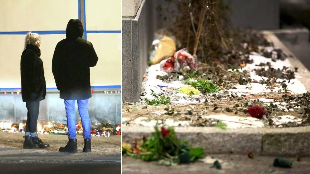 Personer stannar till vid den minnesplats som skapades under lördagen efter dödsskjutningen i Rinkeby – under lördagskvällen vandaliserades platsen.
