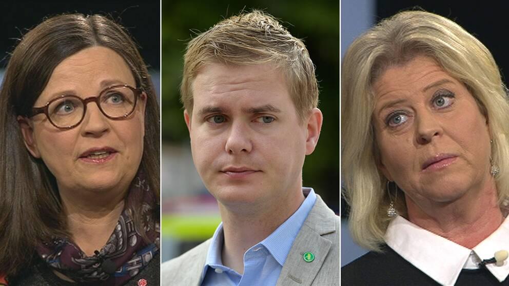 Gymnasieminister Anna Ekström (S) och Camilla Waltersson Grönvall, Moderaternas skolpolitiske talesperson var oense i SVT:s Agenda om huruvida Ekström och skolminister Gustav Fridolin (MP) är överens om politiken.