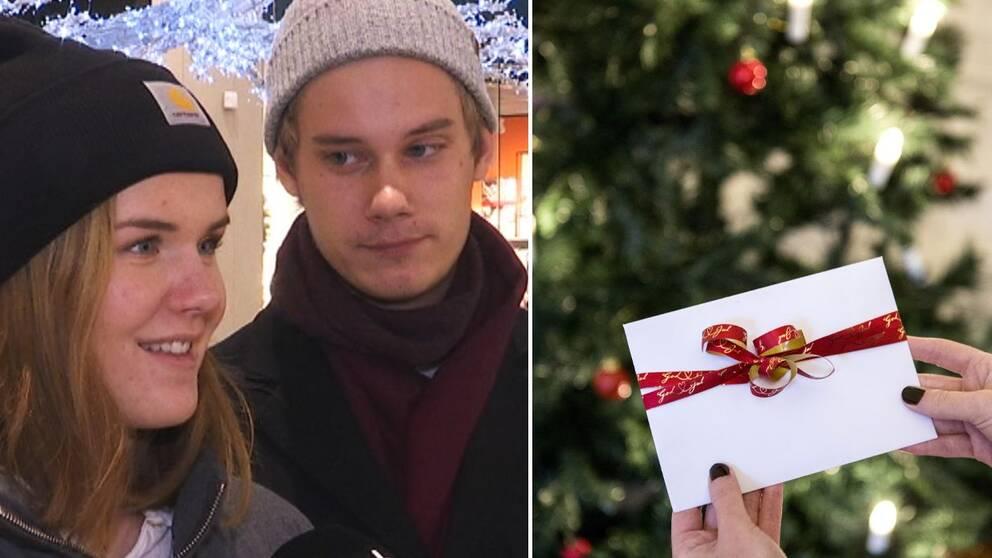 Hand som håller ett kuvert vid en julgran och bild på Maja Palm och Eddie Blomgren