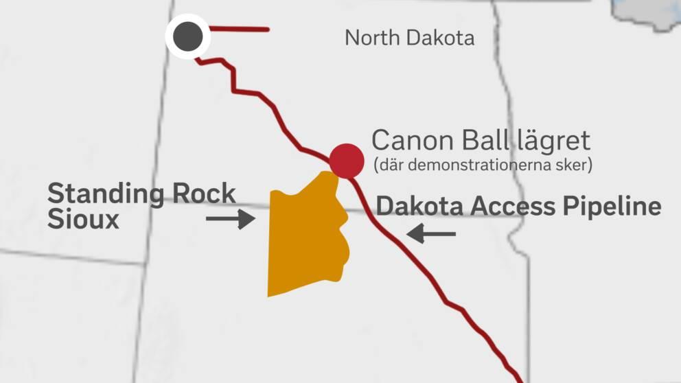 Karta över Stand Rock Sioux-lägret.