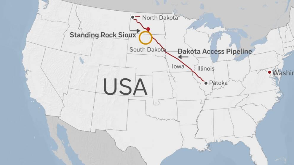 North Dakota Access Pipelines rutt genom fyra delstater.