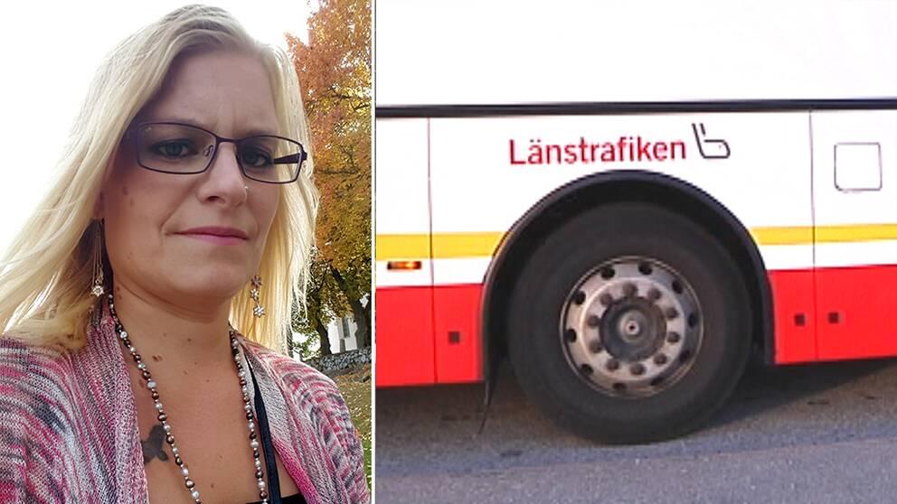 Therese Sahlström. En buss från Jönköpings länstrafik.