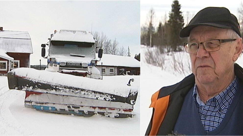En plogningsbil och en man i Snesudden. Problem med plogning.