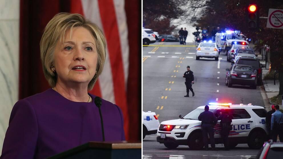 Polis på plats efter att en beväpnad man intagit en pizzeria i Washington i helgen.