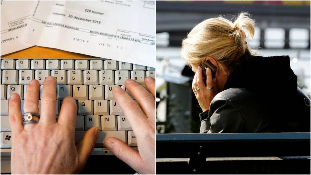 Händer vid tangentbord och räkningar samt en kvinna som pratar i mobiltelefon.