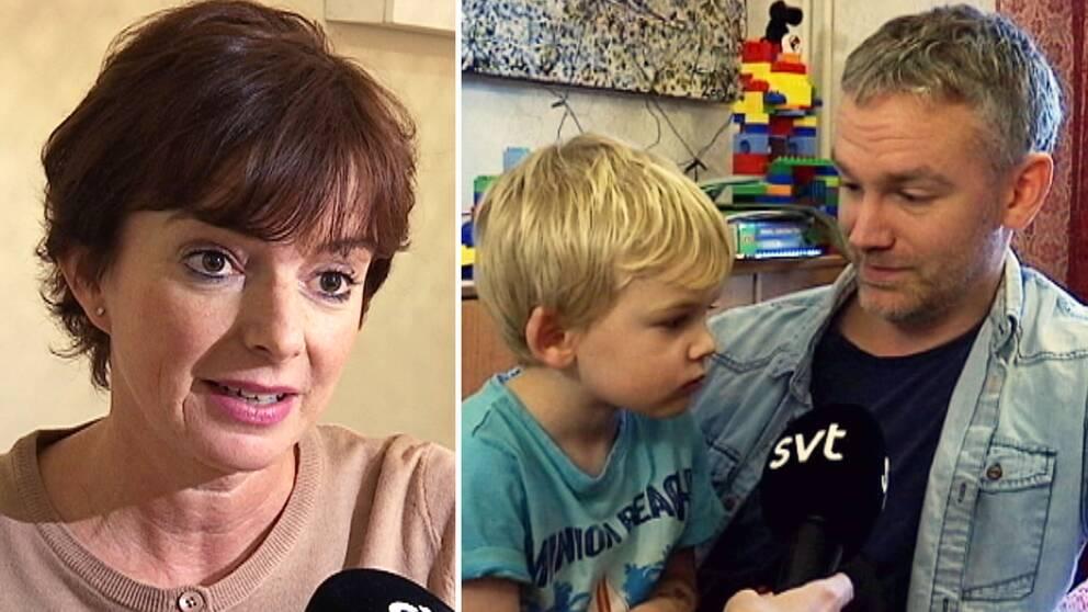 Johanna Olsson är orolig för situationen i förksolan. Det är även Carl Gälman, här tillsammans med sin son.