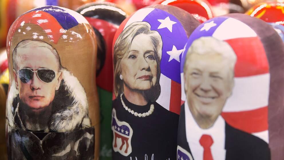 Vladimir Putin, Hillary Clinton och Donald Trump som ryska Matrjosjka-dockor.