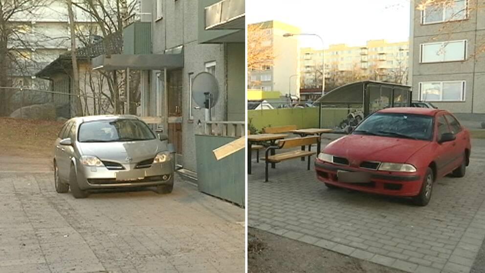 Felparkerade bilar.