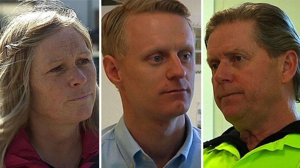 Marie Engfelt jobbar som vårdbiträde. Victor Leiman är civilingenjör och Göran Schyllert är byggnadssnickare.