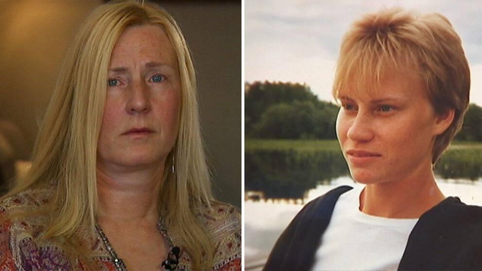 En kvinna och en bild av hennes syster som blev mördad. Eva Söderström till höger, Anneli Söderström till vänster.