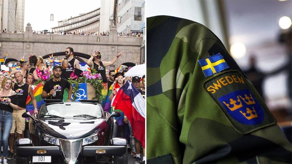 Pridedeltagare och fastsytt märke från försvarsmakten på militärklädsel.