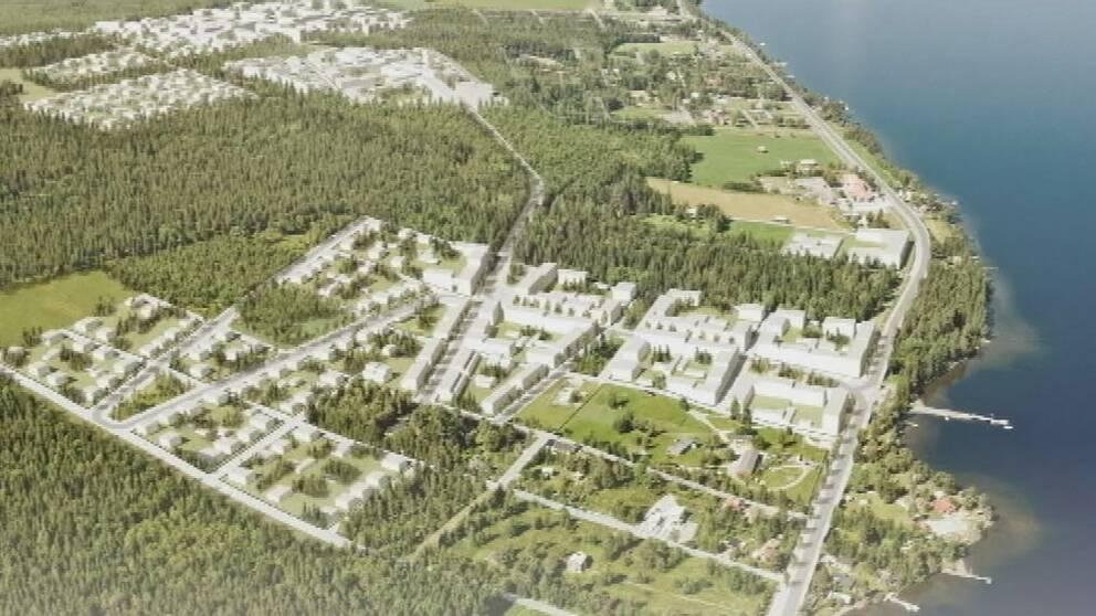 Illustration över den nya stadsdelen