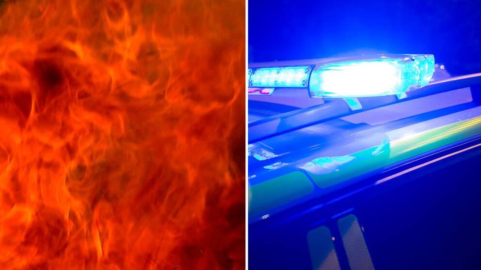 Brand, polisbil med sirener.