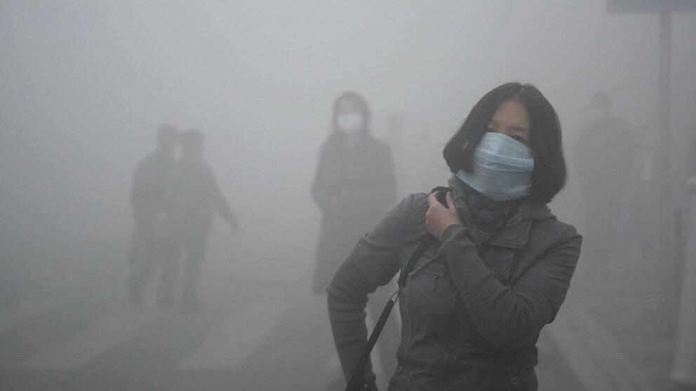 Smog är vanligt i industritäta Kina. Här en kvinna med skyddsmask i Harbin i norra delen av landet.