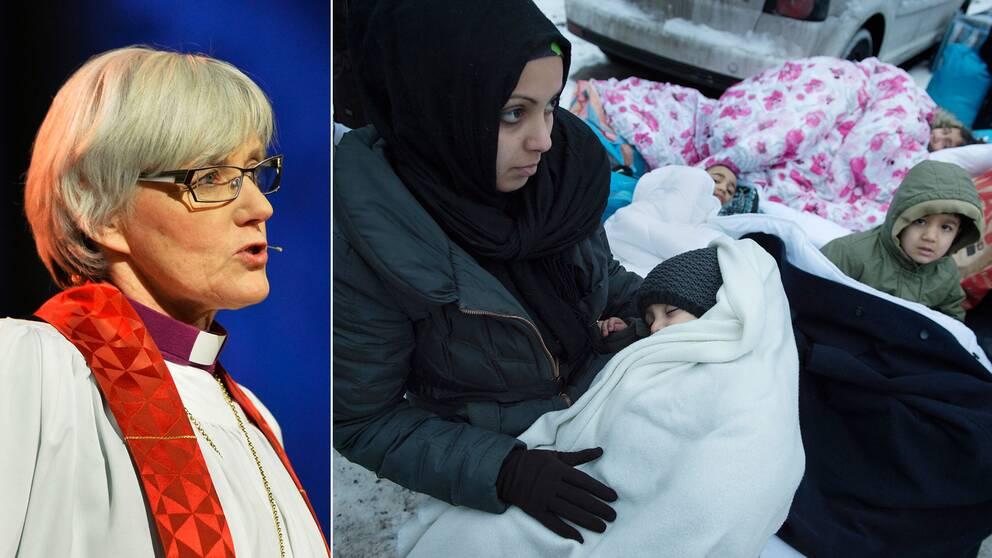 Ärkebiskop Antje Jackelén och en flyktingfamilj