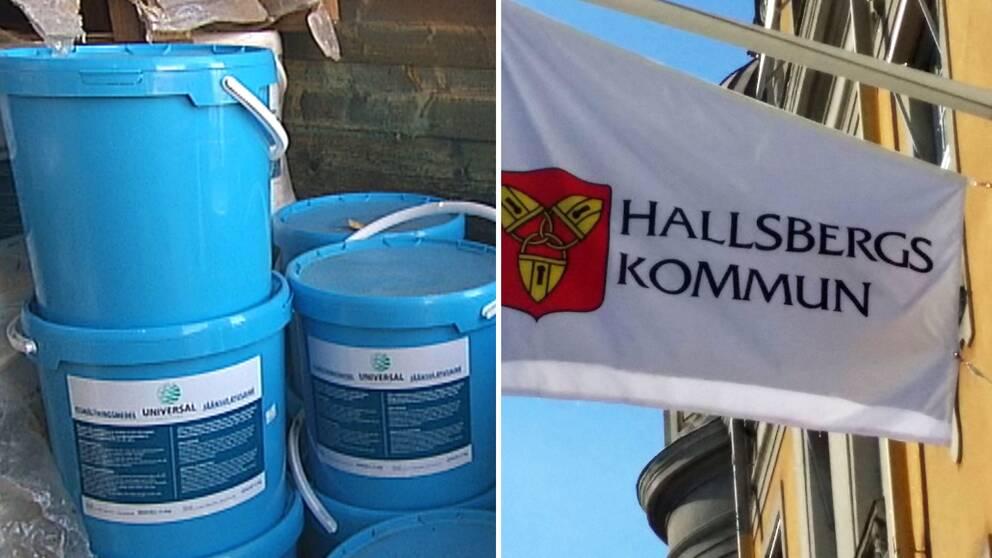 Issmältningsmedel och en flagga på Hallsbergs kommun.