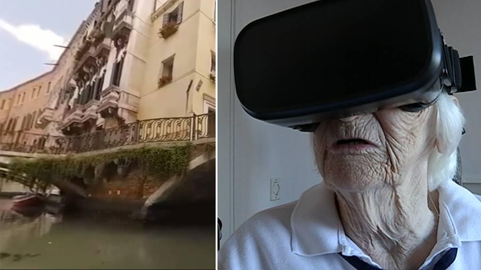 På äldre och ålder- och demensboendet Karljohangården provar man gärna ny teknik och nu har har man köpt in ett par VR-glasägon till sina boende. En teknik där de boende kan resa utomlands virituellt.