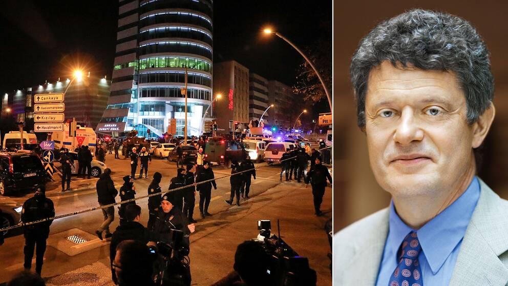 Sveriges ambassadör i Turkiet, Lars Wahlund, och en bild på polispådraget i Ankara.