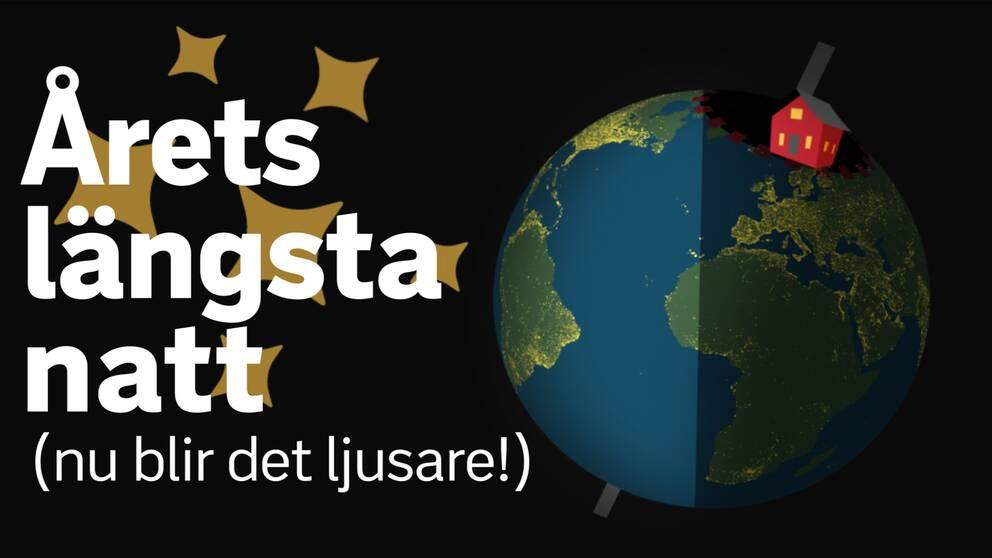 """Bild på halvskuggat jordklot med texten """"årets mörkaste natt (nu blir det ljusare!)"""""""
