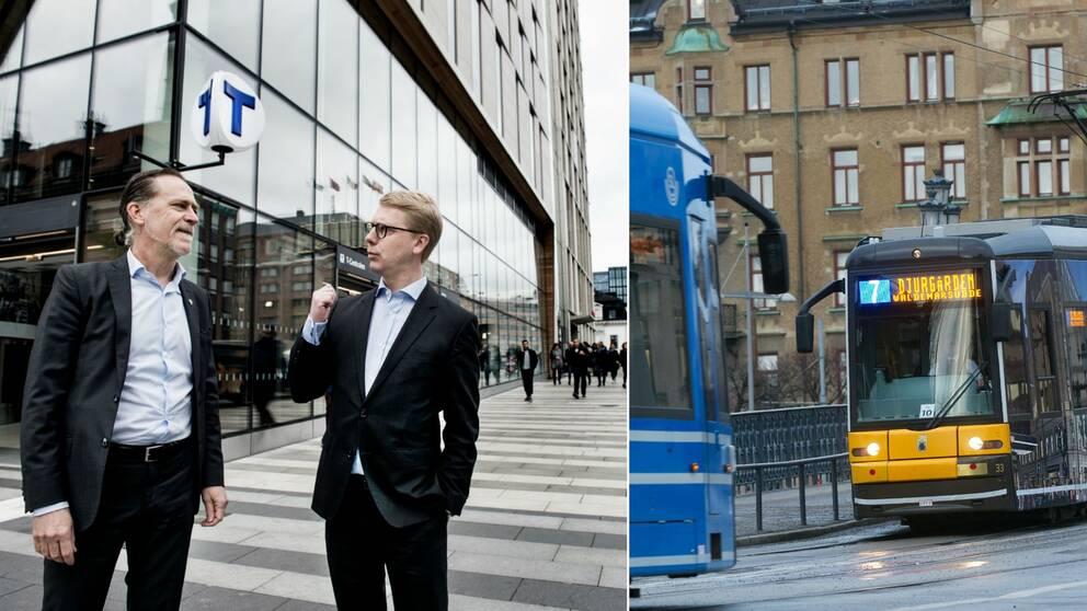 Daniel Helldén pratar med Kristoffer Tamsons vid Klarabergsviadukten. Till höger en bild på en spårvagn 7.