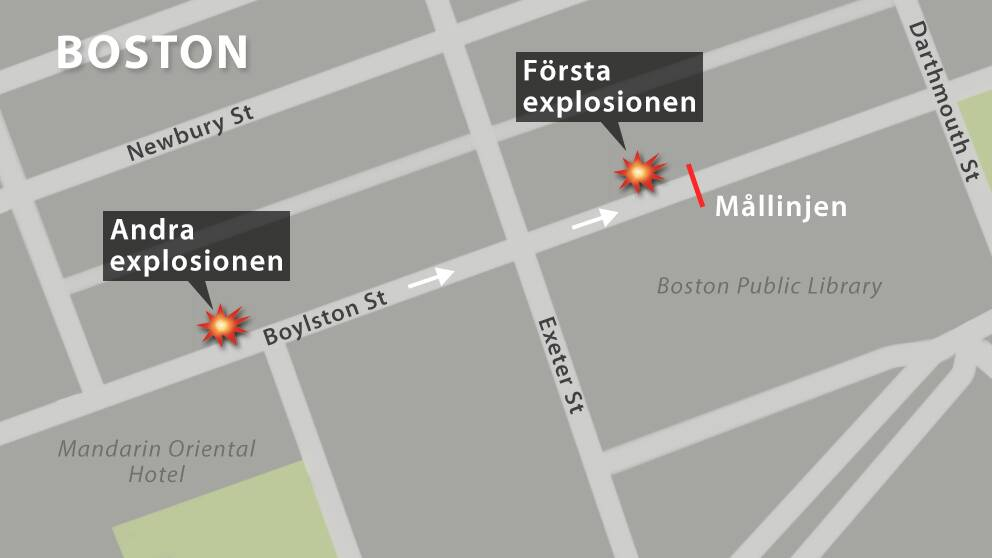 Karta över explosionsplatsen