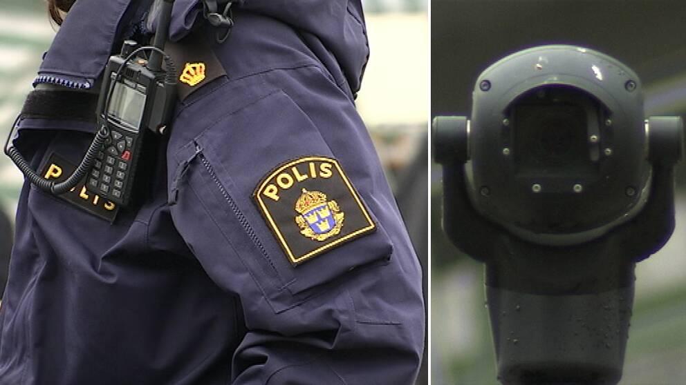 Delad bild: Polis och övervakningskamera