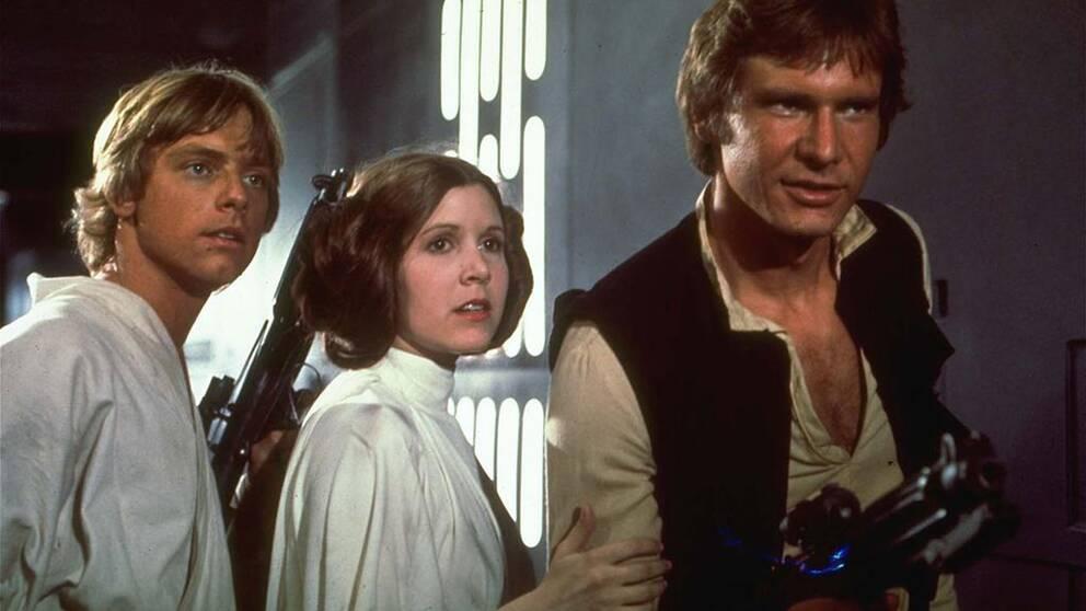 Mark Hamill, Carrie Fisher, och Harrison Ford.