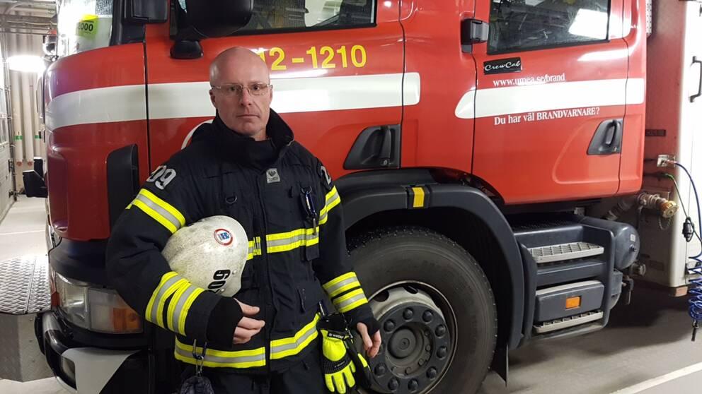 Brandman, Per Holmgren, deltidsbrandman i Holmsund