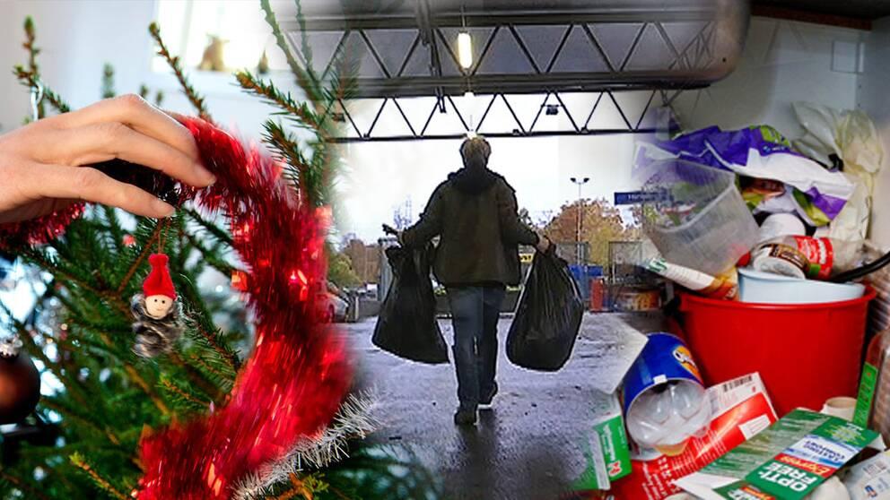 Montage julåtervining julgran med hand, person med sopsäckar på återvinning, sopor