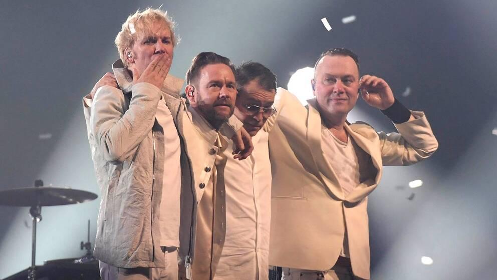 Kent efter sista spelningen någonsin, i Stockholm 17 december 2016. Från vänster: Sami Sirviö, Joakim Berg, Markus Mustonen och Martin Sköld.