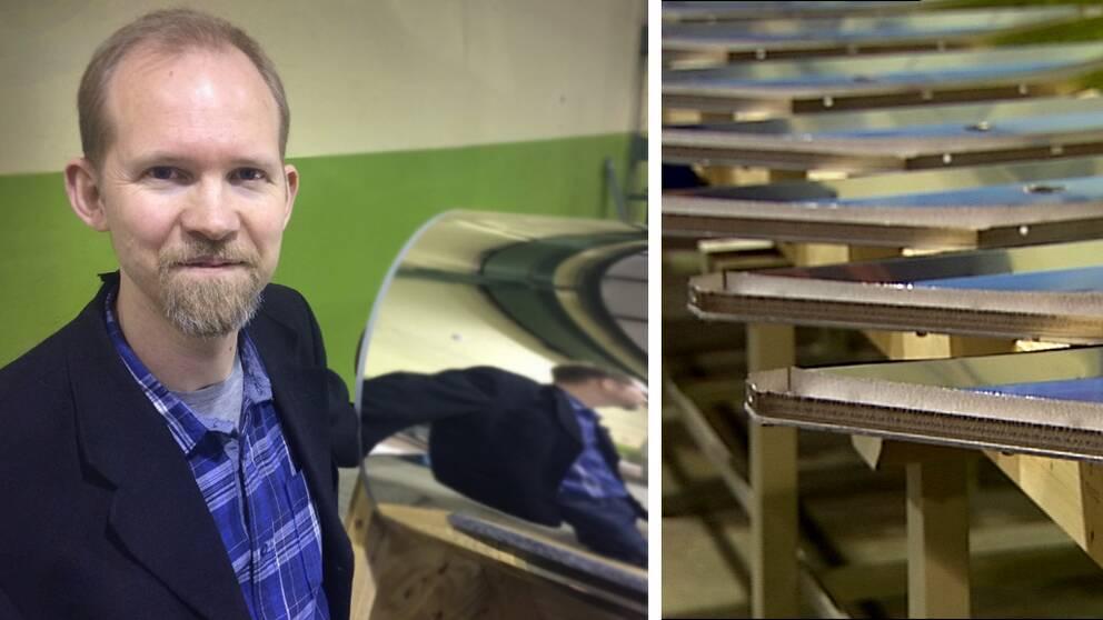 David Byström vd Absolicon framför prototypen som ska masstillverka solfångare