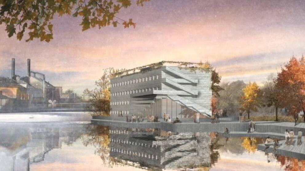 Skiss på nya hotellet på Strömsholmen, illustration Codesign