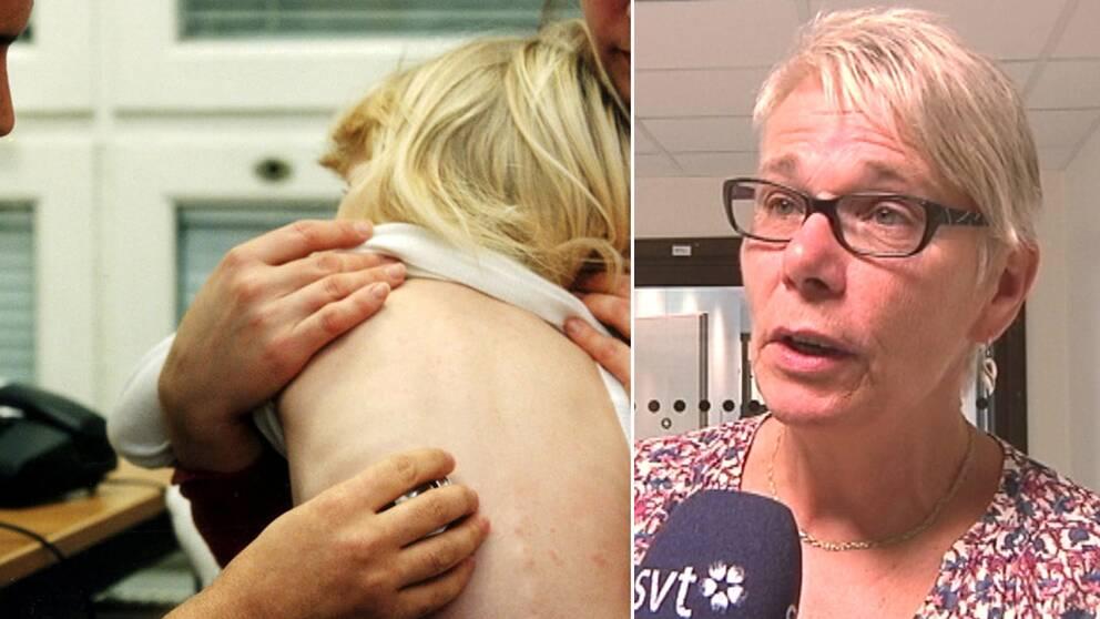 Montage. Barn bli undersökt av en läkare på vårdcentralen, till vänster, och Monica Johansson (S), landstingsstyrelsens ordförande i Sörmland, till höger.