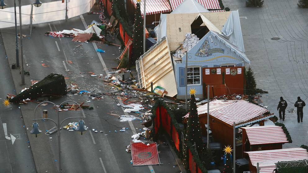 Julmarknaden efter attacken.