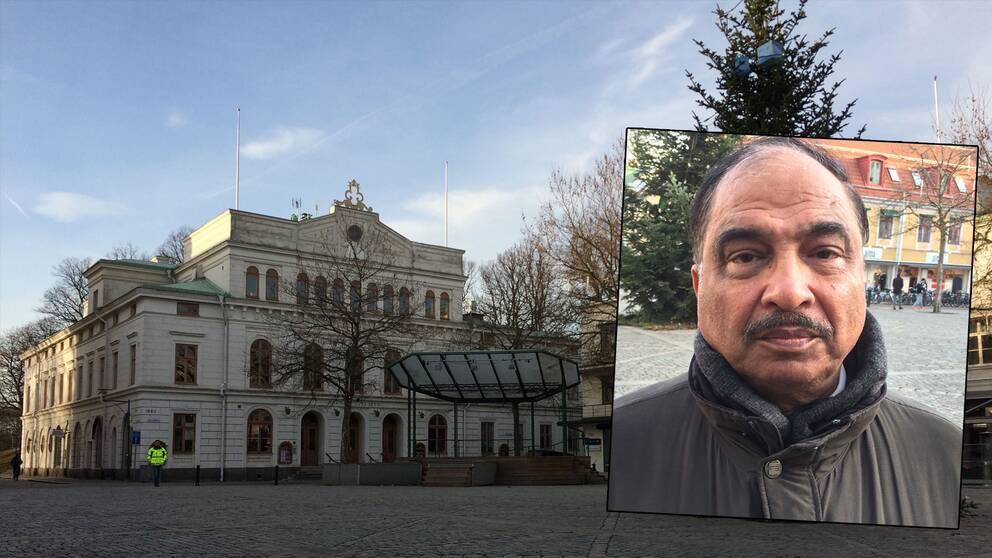 Nattvandraren och politikern Nasim Malik och en bild på larmtorget i Kalmar.
